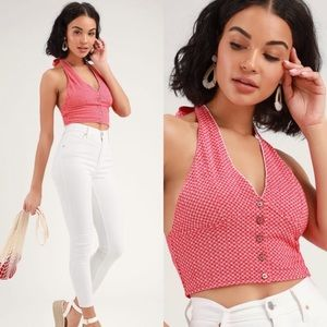 Free People Picnic Red Halter Crop Top Small